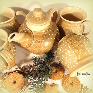Teás szett hóesésben, Otthon & lakás, Konyhafelszerelés, Bögre, csésze, Kancsó , Lakberendezés, Tárolóeszköz, Kerámia, 4 személyre készült teás- szett, bögrékkel és egy szűrőbetétes teakannával. Korongolt edények színte..., Meska