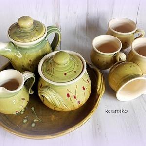 Kávés bögre készlet, Otthon & lakás, Konyhafelszerelés, Bögre, csésze, Lakberendezés, Tálca, Tárolóeszköz, Kerámia, Reggeli kávésbögrék, kiöntővel, cukros-mézes edénnyel, tejszínes kiöntővel, tálcával, üde tavaszi fr..., Meska