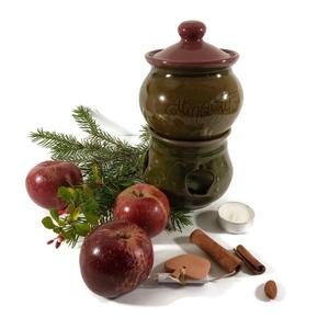 almasütő tálkával, Otthon & Lakás, Konyhafelszerelés, Sütő- és főzőedény, Kerámia, Almasütő, melyben egy mécsessel finomra párolódik a kockára vágott alma. Fahéjjal, mézzel meghintve,..., Meska