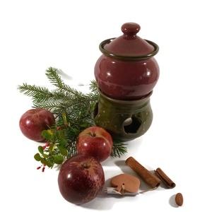 almasütő, Otthon & Lakás, Konyhafelszerelés, Sütő- és főzőedény, Kerámia, Almasütő, melyben egy mécsessel finomra párolódik a kockára vágott alma. Fahéjjal, mézzel meghintve,..., Meska