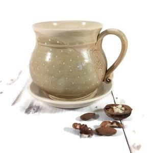 Örömbögre teához, Otthon & Lakás, Konyhafelszerelés, Bögre & Csésze, Kerámia, Téli esték teáihoz, reggeli habos tejes-kávékhoz, kakaóhoz készült bögre, alátéttel.\nA kb.4-4,5 dl ű..., Meska