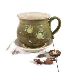 Örömbögre teához, Otthon & Lakás, Konyhafelszerelés, Bögre & Csésze, Kerámia, Tavaszi megújulás teáihoz, reggeli habos tejes-kávékhoz, kakaóhoz készült bögre, alátéttel.\nA kb.4-4..., Meska