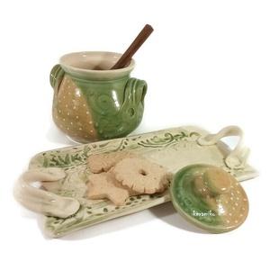 mézes és tálca, Otthon & Lakás, Konyhafelszerelés, Tálca, Kerámia, Mézes -cukros edény tálca sütiknek. Hétköznapi szett reggelihez, teázós bekuckózáshoz.\nA tálca csipk..., Meska