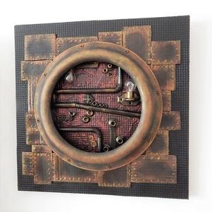 Steampunk fali dekoráció újrahasznosított elemekből, Otthon & lakás, Dekoráció, Kép, Lakberendezés, Falikép, Újrahasznosított alapanyagból készült termékek, Festett tárgyak, Steampunk stílusú kép, csupa újrahasznosított alapanyagból, festve és waxolva.\n\nMérete: 40 x 40 cm\nA..., Meska
