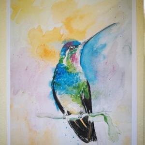 Figyelő, Képzőművészet, Otthon & lakás, Festmény, Akvarell, Festészet, Aquarell képem alapján készült másolat.\nA5 méretben, hozzá illő sörkarton háttérrel, fóliába csomago..., Meska