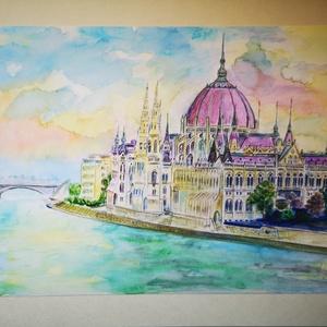 Parlament , Képzőművészet, Otthon & lakás, Festmény, Akvarell, Festészet, Aquarell képem alapján készült, sorszámozott, színazonos nyomat, minőségi aquarell papíron, A4 méret..., Meska