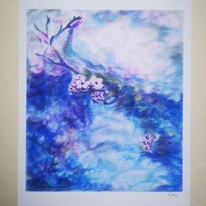 Cseresznyevirágzás, Művészet, Művészi nyomat, Megegyező című porpasztell vászon képem alapján készült limitált, sorszámozott másolat papír hordozó..., Meska