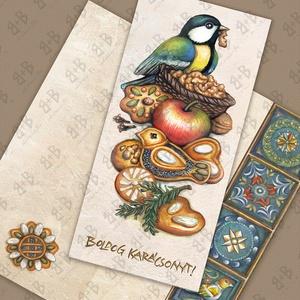 Mézeskalácsos képeslap cinkével, Karácsony & Mikulás, Karácsonyi képeslap, Fotó, grafika, rajz, illusztráció, Festészet, Igényesen kivitelezett négyoldalas, hosszúkás képeslap,  300 grammos, jó tartású , matt  hatású papí..., Meska