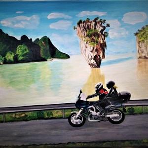 Thaiföldi túra, Művészet, Festmény, Akril, Festészet, 40x55 feszített vászon, akril festékkel készített.\n Felülete kezelt, így kevésbé sérülékeny. A kivál..., Meska