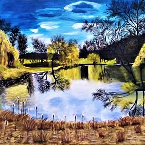 Ősz a tónál, Művészet, Festmény, Akril, Festészet, Fotó, grafika, rajz, illusztráció, Az alkotás, feszített vászon, akril festékkel, 55x38 cm. Felülete kezelt, így kevésbé sérülékeny. A ..., Meska