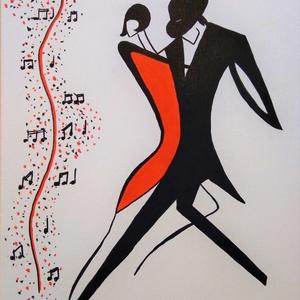 A zene hullámhosszán, Művészet, Festmény, Akril, Festészet, Modern stílus, ecsettel feszített vászonra festett, 50x40cm . Hangulatos, dekoratív része lehet a la..., Meska