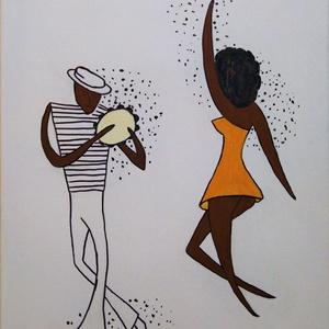 Zene hullámhosszán/2, Művészet, Festmény, Akril, Festészet, Fotó, grafika, rajz, illusztráció, Modern stílus, ecsettel feszített vászonra festett, 50x40cm . Hangulatos, dekoratív része lehet a la..., Meska