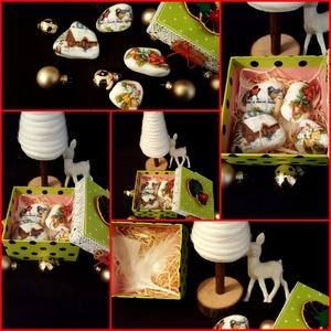Karácsonyi Dekorációs kavics szett díszdobozban, Otthon & Lakás, Dekoráció, Kavics & Kő, Decoupage, transzfer és szalvétatechnika, Mindenmás, Nagyon szeretek kavicsokkal foglalkozni,legyen szó megfestésről, pöttyözéses technikáról vagy decoup..., Meska