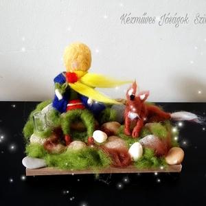 Waldorf jellegű gyapjú Kis herceg -róka  dekorációs dísz ajándék - otthon & lakás - dekoráció - dísztárgy - Meska.hu