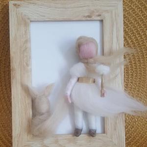 waldorf jellegű kis herceges gyapjú kép natúr színekben, Otthon & Lakás, Dekoráció, Kép & Falikép, Baba-és bábkészítés, Nemezelés, Meska