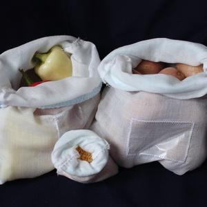 3 db bevásárló zsák (újrahasznosítható), NoWaste, Bevásárló zsákok, zacskók , Textilek, Textil tároló, Otthon & lakás, Konyhafelszerelés, Fűszertartó, Varrás, A bevásárló zsákok természetes anyagból készültek, csak a zsák elején lévő kis ablak műanyag. Ha a l..., Meska
