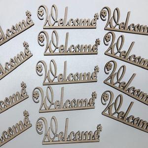 Welcome fa felirat, Otthon & lakás, Dekoráció, Dísz, Ünnepi dekoráció, Famegmunkálás, Dekorációs célra készített felirat 3mm es rétegelt lemezből 10x4 cm.Natúr színben csiszolva.Igény sz..., Meska