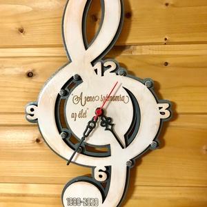 Óra violin kulcs alakú, Otthon & lakás, Dekoráció, Ünnepi dekoráció, Lakberendezés, Falióra, óra, Famegmunkálás, Egyedi violin kulcs alakú óra 30x18cm.Több réteg 3mm es rétegelt lemezből készül,lakkozva.Egyedi szö..., Meska