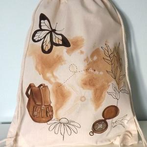 Világjáró festett hátizsák, Táska & Tok, Hátizsák, Gymbag, Festett tárgyak, Egy igazi túrázós, világjárós vászon hátizsák, mely egyedi kézi festéssel készült. Minden kiránduló ..., Meska