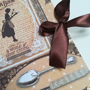 Vintage szakácskönyv, Süteményeskönyv, Receptfüzet, Konyhafelszerelés, Otthon & Lakás, Könyvkötés, A napló kézi kötéssel készült, szövet gerinccel, és vintage jellegű papír borítással, arany könyvsar..., Meska