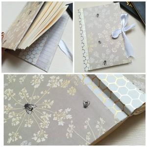 Méhek- napló, Jegyzetfüzet & Napló, Papír írószer, Otthon & Lakás, Könyvkötés, A napló kézi kötéssel készült, papír borítással,  arany könyvsarokkal, fehér selyem átkötő masnival...., Meska