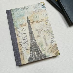 Paris , Eiffel Tower, Jegyzetfüzet & Napló, Papír írószer, Otthon & Lakás, Könyvkötés, A napló kézi kötéssel készült, papír borítással,  arany könyvsarokkal. A belső lapok 80gr- os csonts..., Meska