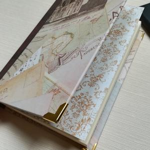 Postcards napló, vintage hangulatban, Otthon & Lakás, Papír írószer, Jegyzetfüzet & Napló, Könyvkötés, A napló kézi kötéssel készült, papír borítással, arany könyvsarkokkal. A belső lapok 80gr- os csonts..., Meska