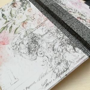 Vintage Rose- egyedi napló, Otthon & Lakás, Papír írószer, Jegyzetfüzet & Napló, Könyvkötés, A napló kézi kötésű, egyedi darab. Egy  példány készült belőle. A borító papír, fekete átkotő masniv..., Meska