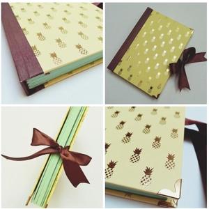 Arany ananászok- egyedi napló, Otthon & Lakás, Papír írószer, Jegyzetfüzet & Napló, Könyvkötés, A napló kézi kötésssel készült, egyedi példány. Borítója papír, melyen arannyal nyomott ananászok lá..., Meska