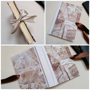 Vintage Lace and Dotts- egyedi napló, Otthon & Lakás, Papír írószer, Jegyzetfüzet & Napló, Könyvkötés, A napló kézi kötéssel készült, papír borítással, barna selyem masnival.. A belső lapok 80gr- os cson..., Meska