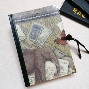 Africa- egyedi napló arany könyvsarokkal és bőrszíjjal, Otthon & Lakás, Papír írószer, Jegyzetfüzet & Napló, Könyvkötés, A napló kézi kötéssel, dekopázs technikával  készült. A belső lapok 80gr- os csontszínűek, üresek, e..., Meska