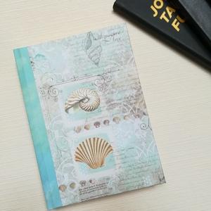 Nautilus csiga -Egyedi napló tengerparti hangulatban, Otthon & Lakás, Papír írószer, Jegyzetfüzet & Napló, Könyvkötés, A napló kézi kötéssel készült. A belső lapok 80gr- os csontszínűek, üresek, ezzel rengeteg teret adn..., Meska