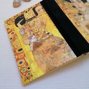 Klimt Hölgyei - Egyedi napló szecessziós stílusban, Otthon & Lakás, Papír írószer, Jegyzetfüzet & Napló, Könyvkötés, A napló kézi kötéssel készült. A belső lapok 80gr- os csontszínűek, üresek, ezzel rengeteg teret adn..., Meska