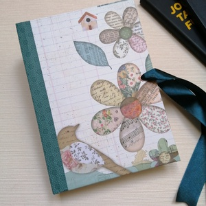 Virágok és kismadarak egyedi napló, Otthon & Lakás, Papír írószer, Jegyzetfüzet & Napló, Könyvkötés, Meska