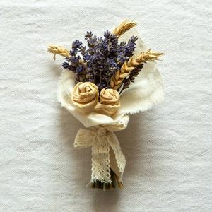 Levendulacsokor csuhérózsákkal, Otthon & Lakás, Dekoráció, Csokor & Virágdísz, Fonás (csuhé, gyékény, stb.), Virágkötés, Te is szereted a levendulát? \nEgy csokornyi levendulát csuhérózsákkal és búzával díszítettem. \n\nMére..., Meska