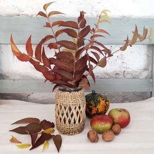 Őszi dekoráció a lakásba - Fonott üvegváza, Otthon & Lakás, Váza, Dekoráció, Egy kis varázslatot mi is becsempészhetünk lakásunkba. Színes levelek vázákba, termések kosarakba. M..., Meska