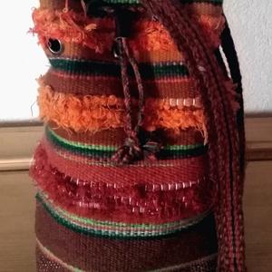 Gyapjú válltáska barna-narancs-zöld, Táska & Tok, Kézitáska & válltáska, Vállon átvethető táska, Szövés, Varrás, Hagyományos szövőszéken kézzel szőtt gyapjú válltáska, állítható vállpánttal.\nSzíne: barna árnyalata..., Meska