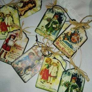 Vintage karácsonyi üdvözlőkártyák, Karácsony, Ajándékkísérő, Decoupage, transzfer és szalvétatechnika, Ajándékkísérő kártyák, gyögyörű vintage képekkel...\n200 ft/db, Meska