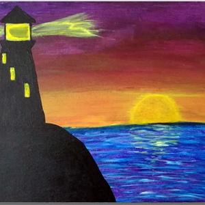 """Világítótorony - akril festmény, Otthon & lakás, Lakberendezés, Falikép, Képzőművészet, Festmény, Festészet, A \""""Világítótorony\"""" 25×30 cm méretű feszített vászonra festett akril festmény. Keretezést nem igényel..., Meska"""