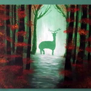 """Őszi erdő - akril festmény, Otthon & lakás, Lakberendezés, Falikép, Képzőművészet, Festmény, Festészet, Az \""""Őszi erdő\"""" 25×30 cm méretű feszített vászonra festett akril festmény. Keretezést nem igényel, az..., Meska"""