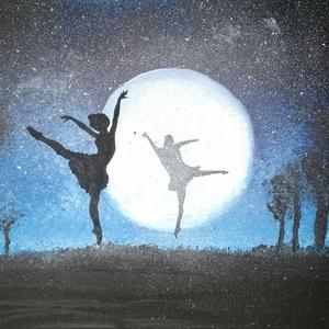 """Balerina Holdfényben - akril festmény, Otthon & lakás, Lakberendezés, Falikép, Képzőművészet, Festmény, Festészet, A \""""Balerina Holdfényben\"""" 40×30 cm méretű feszített vászonra festett akril festmény. Keretezést nem i..., Meska"""