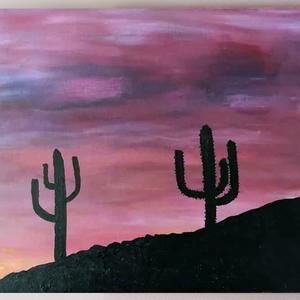 """Kaktusz - akril festmény, Otthon & lakás, Lakberendezés, Falikép, Képzőművészet, Festmény, Festészet, A \""""Kaktusz\"""" 25×30 cm méretű feszített vászonra festett akril festmény. Keretezést nem igényel, azonn..., Meska"""