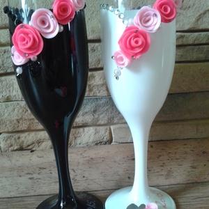 Pink rózsa esküvői pohár pár, Tálalás, Dekoráció, Esküvő, Gyurma, Egyedi kézzel készített pohár pár.\nSüthető gyurmát használtam a díszítéshez.\nBármilyen színösszeállí..., Meska