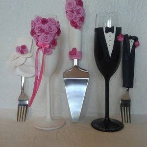 Rózsa esküvői  szett, Asztaldísz, Dekoráció, Esküvő, Gyurma, Egyedi díszítéssel ellátott esküvői álom szett.\n\nSzerelmes pároknak eljegyzésre, esküvőre vagy egyéb..., Meska