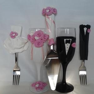 Rózsa esküvői  szett, Nászajándék, Emlék & Ajándék, Esküvő, Gyurma, Egyedi díszítéssel ellátott esküvői álom szett.\n\nSzerelmes pároknak eljegyzésre, esküvőre vagy egyéb..., Meska