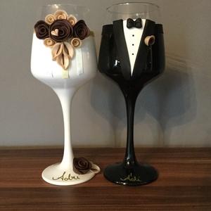 Bordó rózsa  esküvői pohár pár (KicsinyCsodak) - Meska.hu
