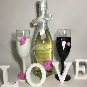 Rózsa esküvői  szett 4., Tálalás, Dekoráció, Esküvő, Gyurma, Egyedi díszítéssel ellátott esküvői álom szett.\n\nSzerelmes pároknak eljegyzésre, esküvőre vagy egyéb..., Meska
