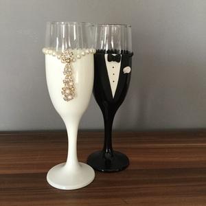 Kristály rózsa pezsgős pohár pár 4., Tálalás, Dekoráció, Esküvő, Gyurma, Szeretnéd felejthetetlenné tenni a nagy napot? Álmodd meg,és mi megvalósítjuk! Bármilyen színkombiná..., Meska