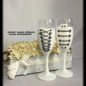 Esküvői pohár pár, Tálalás, Dekoráció, Esküvő, Gyurma, Egyedi kézzel készített pohár pár csipke díszítéssel.\nBármilyen színösszeállításban kérhető.\nTalp ré..., Meska