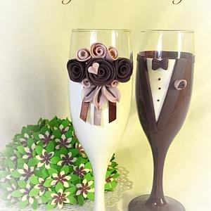 Barna rózsa esküvői pohár pár, Tálalás, Dekoráció, Esküvő, Gyurma, Egyedi kézzel készített pohár pár.\nSüthető gyurmát használtam a díszítéshez.\nBármilyen színösszeállí..., Meska